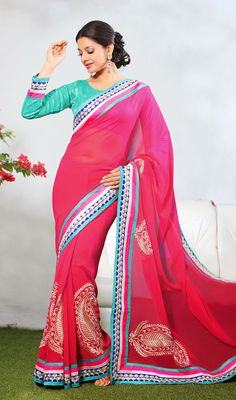 Candy Pink Chiffon Embroidered Saree Candy pink shade faux chiffon saree is prettified with resham embroidered bold paisley motifs on the lower part. Contrasting border patch featuring foliage patterns evokes simplistic elegance. Comes with a matching stitched round neck blouse with 6 inches sleeves. #EveningWearSaree #LatestSariFashionStyles