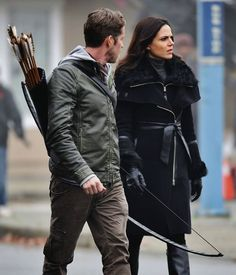 Awesome Lana and Sean (Regina and Robin) #Once #BTS Once S5B Spring premiere E12 #SoulsofTheDeparted #OnceTurns100 airs Sunday 3-6-16 #StevestonVillage #Richmond BC #Canada Tuesday 2-16-16