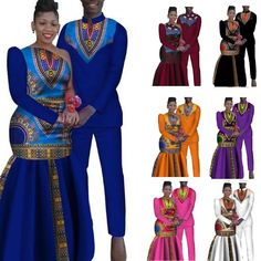 African Couples Sets Man and Women Matching Dashiki Print Traditional African Clothing, African Clothing For Men, African Shirts, African Print Fashion, Royal Clothing, Couples African Outfits, African Wear Dresses, Couple Outfits, African Wedding Attire