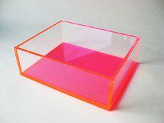 Display Box Pink and Clear Acrylic / Organizing Box / Craft Box / Sales Display / Cosmetics / Shadow Box / Acrylic Organizer
