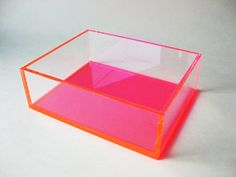 Display Box Pink and Clear Acrylic / Organizing Box / Craft Box / Sales Display / Cosmetics / Shadow Box / Acrylic Organizer