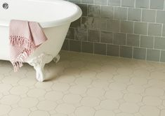 Victorian Floor Tiles by Original Style. Quintessentially British, these geometric floor tiles are ideal for both the restoration of Victorian and Edwardian properties and for embellishing feature areas within modern style properties. The large range can be used to create some stunning patterns, including this York pattern in White (left) and in Black and Dover …