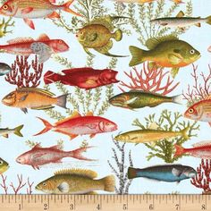 Under the Sea Fish Allover Blue from @fabricdotcom  From Elizabeth's Studio, this cotton print fabric is perfect for quilting, apparel and home décor accents. Colors include blue, taupe, red, coral, pink, green, orange and yellow.