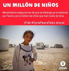 """Naciones Unidas ha anunciado que más de un millón de niños de ese país devastado por la guerra ahora son refugiados.  Farah, 10, explica: """"Vivíamos en paz y seguridad en Siria. Los bombardeos comenzaron y nuestra zona fue golpeada. Siete de nuestros vecinos murieron. Cuando ví a la gente masacrada frente a mi tuve miedo y comencé a llorar."""" #SyriaPeaceTalks ya! http://www.change.org/es/peticiones/no-falléis-a-siria"""