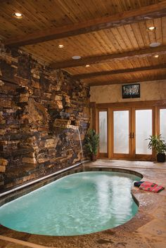 Pool Room in log house .. would love a pool inside