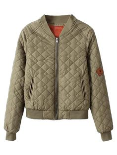 Quilted Padded Bomber Jacket in Khaki