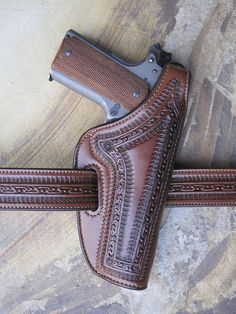 Colt M1911 .45 Service Pistol - Purdy Hand-Carved Border-Stamped High-Ride Mahogany Leather Pistol Scabbard w. Matching Belt | Flickr - Photo Sharing!