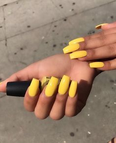 Yellow long nails