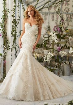 Elegant Embroidered Appliques with Edging and Crystal Beading on Tulle Wedding Dress. Colors available:White/Silver, Ivory/Silver and Light Gold/Silver.