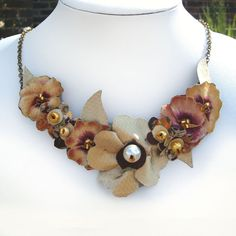 Autumn Leaves and Fabric Flower Bib Necklace by CraftyJoDesigns