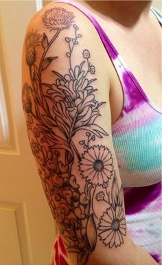 Texas wildflowers New sleeve tattoo. Getting color in three weeks!