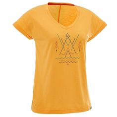 Check out our New Product  Womens arpenaz 100 short sleeved hiking t shirt in yellow COD Made for occasional walkers.TShirt made from a mix of cotton or modal providing a soft feel and helping to wick moisture away from your skin.  ₹344