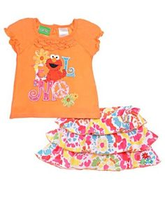 "Sesame Street ""Tie-Dye Elmo"" 2-Piece Outfit (Sizes 12M - 24M): Clothing"