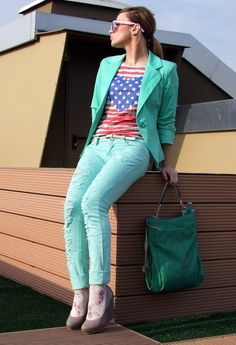 Love this contrast! All in aquamarine and a flag t-shirt