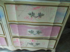 French Provincial Dresser, Rainbow Chevron, Upcycle, Stripes, Upcycling, Upcycled Crafts, Recycling, Line Art