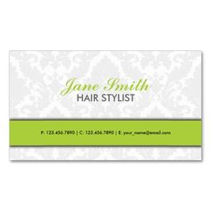Elegant Damask Floral Pattern Modern Stylish Green Double-Sided Standard Business Cards (Pack Of 100). This is a fully customizable business card and available on several paper types for your needs. You can upload your own image or use the image as is. Just click this template to get started!
