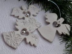 Easy Christmas Salt Dough For Christmas Decorations . Make Your Own Salt Dough Christmas Ornaments With Your Kids they are a super fun craft for the whole Salt Dough Christmas Decorations, Christmas Ornaments To Make, How To Make Ornaments, Christmas Angels, Holiday Crafts, Handmade Christmas, Christmas Christmas, Polymer Clay Ornaments, Dough Ornaments