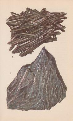 Vintage Print Rocks and Minerals, Stibnite via Etsy
