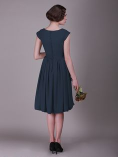 Cap Sleeved Vintage Bridesmaid Dress with Faux Buttons | Up to 15% off, plus FREE Custom Made! 10+ measurements required for a perfect fit, no matter what sizes you are in!