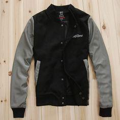 Men Black Grey Print Back Leather Sleeves Varsity Jacket