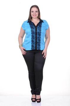 Moda feminina plus size   86888 Camisete com frente de renda