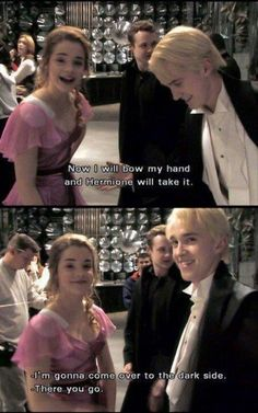 Hermione and Draco. It would have been funny that Hermione & Draco were friends in Harry Potter movies Harry Potter World, Mundo Harry Potter, Harry Potter Jokes, Harry Potter Cast, Harry Potter Fandom, Harry Potter Interviews, Harry Potter Marathon, Harry Potter Characters, Tom Felton