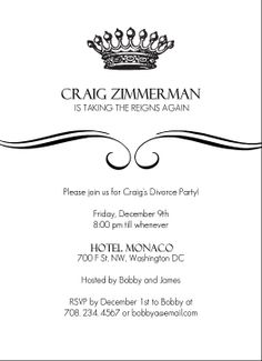 First Single Night On The Town Divorce Party Invitation Divorce