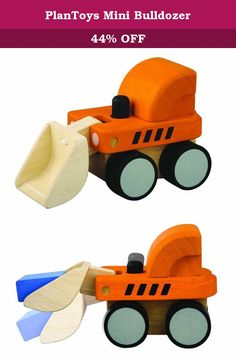 PlanToys Mini Bulldozer. 631700 Features: -Material: Rubberwood. -For ages 19 months and up. -Environmentally safe materials. -Simple and fun to operate. Product Type: -Play Vehicles. Material: -Wood. Color: -Orange. Age Range: -Under 3 Years. Generic Dimensions: -6.1'' H x 7.4'' W x 3.74'' D, 0.9 lb. Dimensions: Overall Height - Top to Bottom: -6.1 Inches. Overall Width - Side to Side: -7.4 Inches. Overall Depth - Front to Back: -3.74 Inches. Overall Product Weight: -0.9 Pounds.