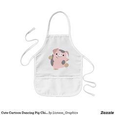 Cute Cartoon Dancing Pig Children Apron