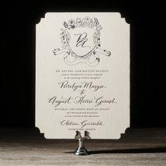Elegant vintage letterpress wedding invitations