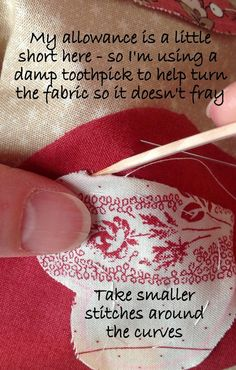 Great needle-turned applique tutorial. At http://karensquiltscrowscardinals.blogspot.com/2014/01/teardrops-of-love-needle-turn-applique.html. Teardrops of Love - a needle turn applique tutorial - Part 4: Points Inside and Out