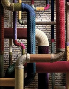Fantastical fabrications (House and Garden) Perhaps a colorful way to hide the ductworks and pipes in the basement. Interior And Exterior, Interior Design, Stage Design, Retail Design, Visual Merchandising, Installation Art, Textures Patterns, Basement, Home Goods
