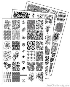 UberChic Nail Stamp Plates - Collection 5 - Includes 3 Unique Nail Stamp Plates