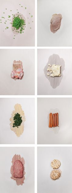 """John Gall - A photographic essay on defrosting foods for the """"American Food"""" issue of Lucky Peach magazine [I can only imagine what that article tells us—ick]. Peas, veal, chicken wings, potato salad, spinach, hot dogs, ground beef, veggie burgers. Prints can be purchased at http://society6.com/JohnGall"""