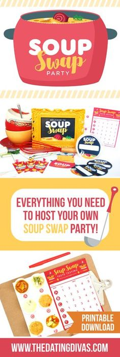 "Printable to host your own ""Soup Swap""- what a fun party idea for fall or winter!"