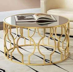 "Fara 35 1/2"" Wide Gold Leaf Round Coffee Table - 55 Downing Street Coffee Table Design, Coffee Table Styling, Steel Coffee Table, Modern Coffee Tables, Gold Round Coffee Table, Center Table, Home Living, Living Room, Table Furniture"