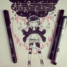 Ella es Kurumi, es otro de mis OC, ella ama cantar. Amaretto es el apellido de Michan ellas dos son mejores amigas ^^ #originalcharacter #music #notasmusicales #corazon #inked #traditional #instaanime #instadraw