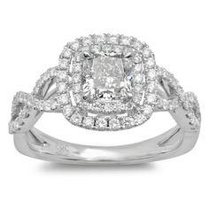 14k White Gold 1 1/2ct TDW Cushion-cut Braided Diamond Halo Engagement Ring (G-H, SI2-I1)