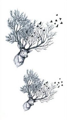 Set of 5 Waterproof Temporary Fake Tattoo Stickers Unique Grey Elk Moose Tree Birds -- Learn more by visiting the image link. (This is an affiliate link) #TemporaryTattoos
