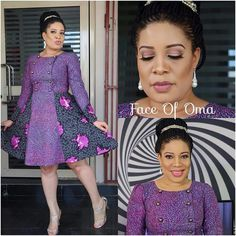 Monalisa Chinda makes Ankara so stylish in this knee length dress! With her braided updo styled in a bun, Monalisa looks fashionable as ever in a mix of purple Ankara… African Dresses For Women, African Print Dresses, African Print Fashion, African Attire, African Wear, African Fashion Dresses, African Women, African Prints, Ankara Fashion