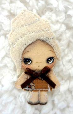 Vanilla Cupcake Art Doll Pin Brooch by Kelly Ann (The Poppy Tree)