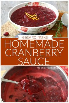 Homemade Cranberry Sauce | Make this homemade cranberry sauce recipe in minutes with just a handful of ingredients! It's SO much better than store bought! #craberrysauce #thanksgivingsidedish #homemadecranberrysauce #cranberrysaucerecipe