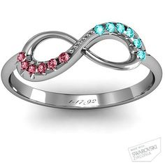 Infinity Accent Ring with his and hers birthstones and anniversary date ♥