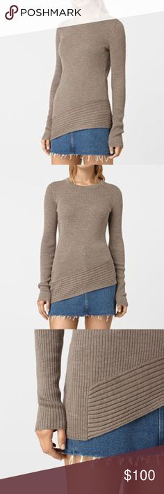 All Saints Keld Gray crewneck sweater S Crafted from the finest merino wool, this crew neck jumper features multi-directional ribbing and an asymmetric hem.  100% merino wool   Color Luna Grey All Saints Sweaters Crew & Scoop Necks