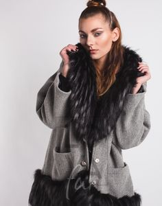 Coat Lina in Wool with Faux Fur Collar in Raccoon Black. Faux Fur Collar, Fur Collars, Vegan Fashion, Single Piece, Wool, Jackets, Black, Fur, Weaving