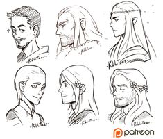 These are some rewards for my +5$ supporters on Patreon <3 I never drew Tony Stark, maybe he's a little young but who cares? I want to draw him again! X'D Then we have Thorin, Thranduil, a young...
