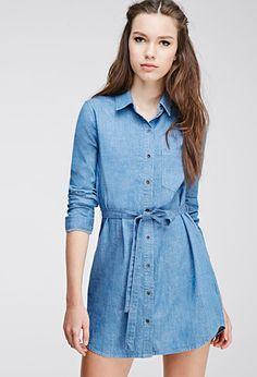 Buttoned Denim Shirt Dress   Forever 21 - 2000096943