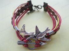 BraceletTHE HUNGER GAMES braceletsilver birds by infinitywish, $8.50