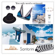 """Santorini"" by alkiiiii on Polyvore featuring Brewster Home Fashions, Ancient Greek Sandals, kiini, Neutrogena, Alice + Olivia, The Beach People and Ippolita"