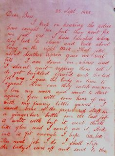 Jack the Ripper .. Page 1 of the Dear Boss letter